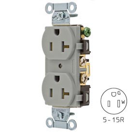Bryant CRS15GRY Commercial Grade Duplex Receptacle, 15A, 125V, Gray