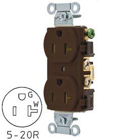 Bryant CRS20 Commercial Grade Duplex Receptacle, 20A, 125V, Brown