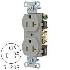 Bryant CRS20GRY Commercial Grade Duplex Receptacle, 20A, 125V, Gray, Side Wired