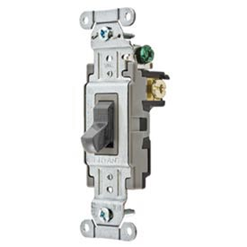 Bryant CS315BGRY Commercial Grade Toggle Switch, Three Way, 15A, 120/277V AC, Gray