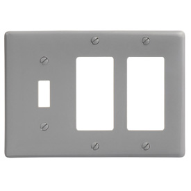 Bryant NP1262GY Toggle Styleline Combo Plate, 3-Gang, Standard, Gray Nylon, 1 Toggle