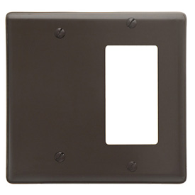 Bryant NP1326 Blank Styleline Combo Plate, 2-Gang, Standard, Brown Nylon