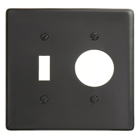 Bryant NP17BK Toggle Single Combo Plate, 2-Gang, Standard, Black Nylon