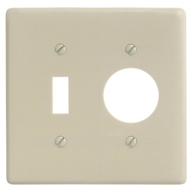 Bryant NP17I Toggle Single Combo Plate, 2-Gang, Standard, Ivory Nylon