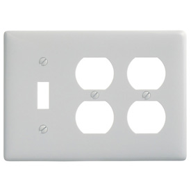 Bryant NP182W Toggle Duplex Combo Plate, 3-Gang, Standard, White Nylon