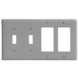 Bryant NP2262GY Toggle Styleline Combo Plate, 4-Gang, Standard, Gray Nylon, 2 Toggle