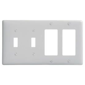 Bryant NP2262W Toggle Styleline Combo Plate, 4-Gang, Standard, White Nylon, 2 Toggle