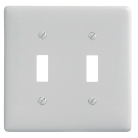 Bryant NP2W Toggle Plate, 2-Gang, Standard, White Nylon