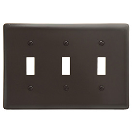 Bryant NP3 Toggle Plate, 3-Gang, Standard, Brown Nylon