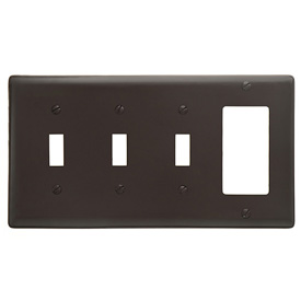 Bryant NP326 Toggle Styleline Combo Plate, 4-Gang, Standard, Brown Nylon, 3 Toggle