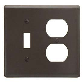 Bryant NP38 Toggle Duplex Combo Plate, 4-Gang, Standard, Brown Nylon