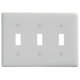 Bryant NP3W Toggle Plate, 3-Gang, Standard, White Nylon