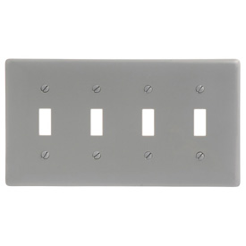 Bryant NP4GY Toggle Plate, 4-Gang, Standard, Gray Nylon
