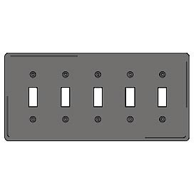 Bryant NP5GY Toggle Plate, 5-Gang, Standard, Gray Nylon