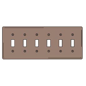 Bryant NP6 Toggle Plate, 6-Gang, Standard, Brown Nylon