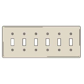 Bryant NP6LA Toggle Plate, 6-Gang, Standard, Light Almond, Nylon