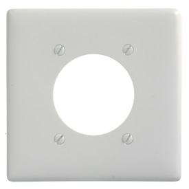Bryant NP703W Single Receptacle Plate, 2-Gang 1 Device-Gang, Standard, White Nylon