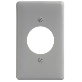 Bryant NP720GY Single Receptacle Plate, 1-Gang, Standard, Gray Nylon, 1.60 open