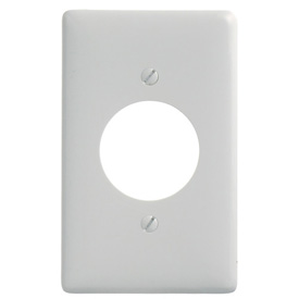 Bryant NP720W Single Receptacle Plate, 1-Gang, Standard, White Nylon, 1.60 open