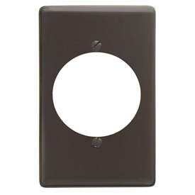 Bryant NP724 Single Receptacle Plate, 1-Gang, Standard, Brown Nylon, 2.15 open