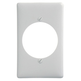 Bryant NP724W Single Receptacle Plate, 1-Gang, Standard, White Nylon, 2.15 open