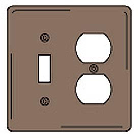 Bryant NPJ18 Toggle Duplex Combo Plate, 2-Gang, Mid-Size, Brown Nylon