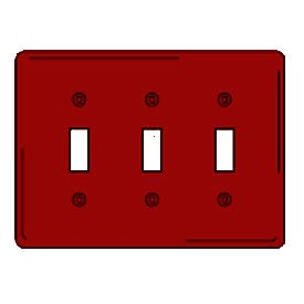 Bryant NPJ3R Toggle Plate, 3-Gang, Mid-Size, Red Nylon