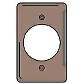 Bryant NPJ724 Single Receptacle Plate, 1-Gang, Mid-Size, Brown Nylon, 2.15 open