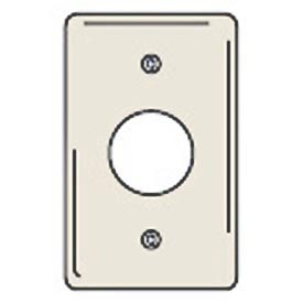 Bryant NPJ7LA Single Receptacle Plate, 1-Gang, Mid-Size, Light Almond Nylon, 1.40 open