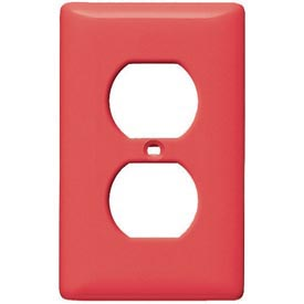 Bryant NPJ8R Duplex Plate, 1-Gang, Mid-Size, Red Nylon