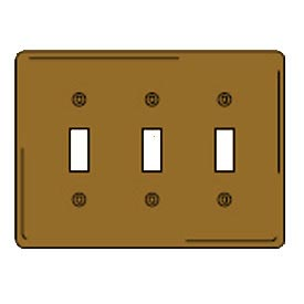 Bryant SB3 Toggle Plate, 3-Gang, Standard, Brass