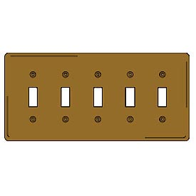 Bryant SB5 Toggle Plate, 5-Gang, Standard, Brass