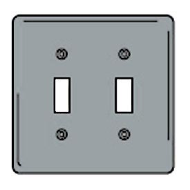 Bryant SCH2 Toggle Plate, 2-Gang, Standard, Chrome Plated