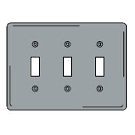 Bryant SCH3 Toggle Plate, 3-Gang, Standard, Chrome Plated