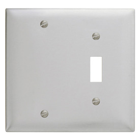Bryant SS113 Toggle Blank Combo Plate, 2-Gang, Standard, Satin Stainless
