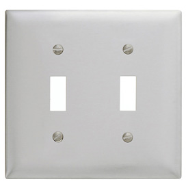 Bryant SS2 Toggle Plate, 2-Gang, Standard, Satin Stainless