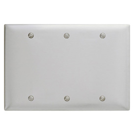 Bryant SS33 Box Mounted Blank Plate, 3-Gang, Standard, Satin Stainless