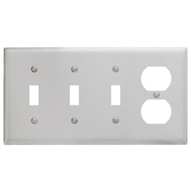 Bryant SS38 Toggle Duplex Combo Plate, 4-Gang, Standard, Satin Stainless