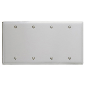 Bryant SS43 Box Mounted Blank Plate, 4-Gang, Standard, Satin Stainless