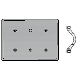 Bryant SS44 Strap Mounted Blank Plate, 4-Gang, Standard, Satin Stainless