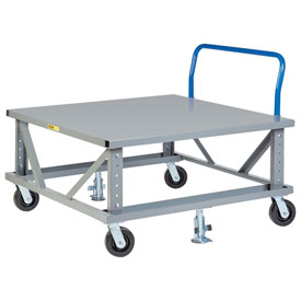 Little Giant® Ergonomic Adj. Height Pallet Stand with Handle PDSEH40486PH2FL - Solid Deck 48x40
