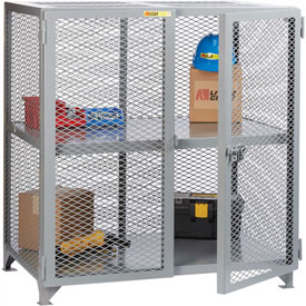 "Little Giant® Welded Storage Locker w/Center Shelf, Mesh Sides, 73""W x 39""D x 52""H"