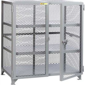 "Little Giant® Welded Storage Locker w/2 Center Shelves, Mesh Sides, 61""W x 27""D x 52""H"