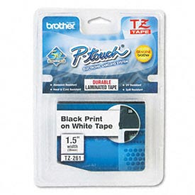 P-Touch TZ Tape Cartridge, TZ Standard Laminated Tape, Black on White, 1-1/2W