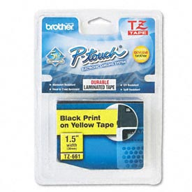 P-Touch TZ Tape Cartridge, TZ Standard Laminated Tape, Black on Yellow, 1-1/2W