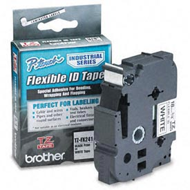 TZ Tape Cartridge for P-Touch labelers, flexible tape, Black on White, 3/4w