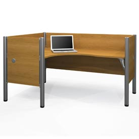 "Bestar® Left L-Desk Workstation w/ End Panels - 43""H - Cappuccino Cherry - Pro-Biz Series"