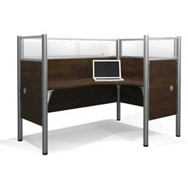 "Bestar® Right L-Desk Workstation w/ End Panels - 55-1/2""H - Chocolate - Pro-Biz Series"