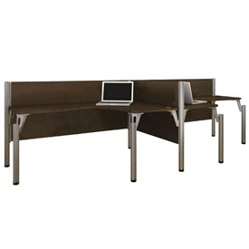 "Pro-Biz Double Side-by-Side L-Desk Workstation in Chocolate 43""H"