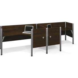 "Bestar® Double L-Desk Workstation w/ End Panels - 43""H - Chocolate - Pro-Biz Series"